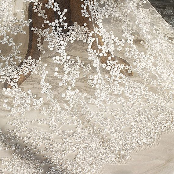 White Embroidery Lace Fabric By The Yard Bridal Lace Wedding