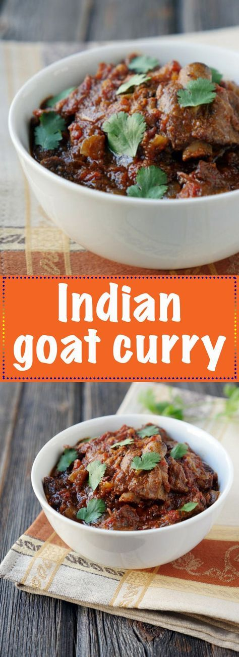 An authentic Indian goat curry made in a slow cooker. Recipe is on MyHeartBeets.com