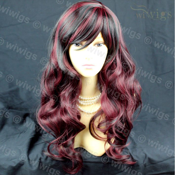 Simply Gorgeous ! Black mix Burgundy wavy Long Ladies Wigs Skin Top Wig UK