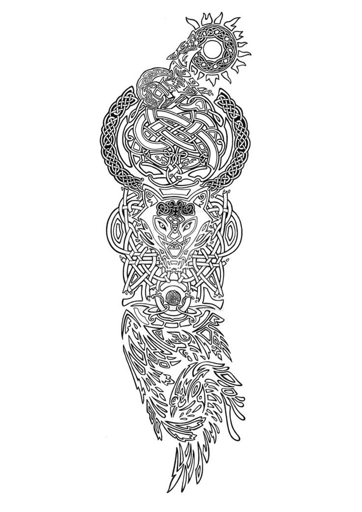 Another tattoo commission, a redesign of an existing tattoo featuring elements from Norse mythology.