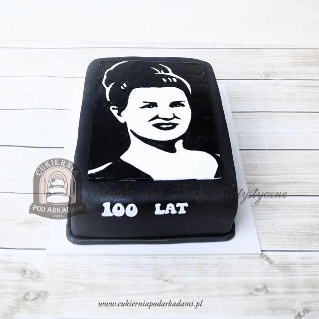 197BA Czarno-biały tort ze zdjęciem kobiety. Black and white photo of a woman - birthday cake.