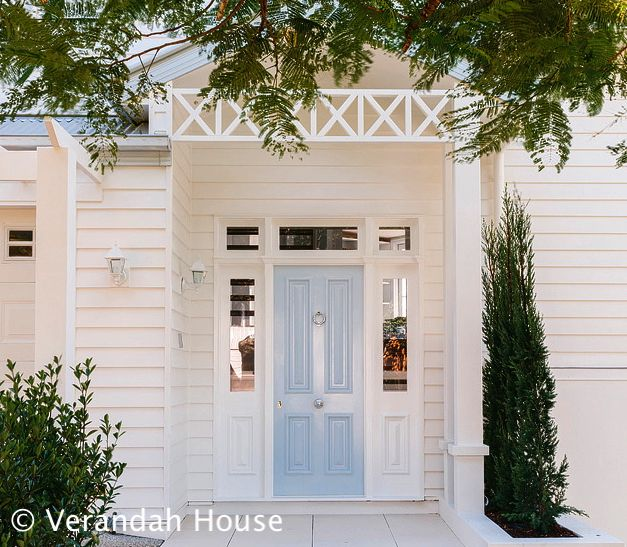 """Front door and weatherboard - love this; For a similar look, try Pratt and Lambert's """"Daydream 26-8""""."""