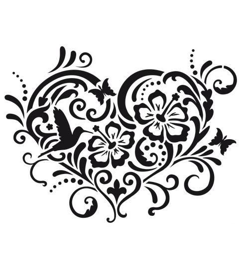Трафареты для рисования Сердце, цветы, завитки, узоры, Viva Decor , купить, магазин АртДекупаж