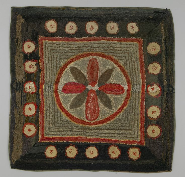 Hooked Rug, Canada, Late To Early Century, L 102 Cm X W 102 Cm.