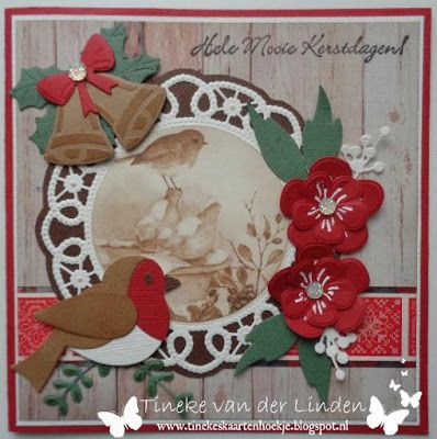 Handmade card by DT member Tineke with Collectables Eline's Birds (COL1392), Craftables Christmas Bells (CR1343) and Creatables Flower Doily (LR0388) from Marianne Design