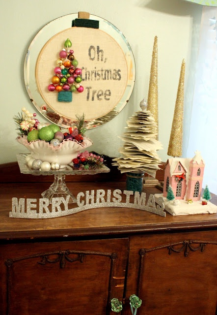 """I'm in LOVE! This is a tutorial on how to make the small Christmas ornament """"Oh Christmas Tree"""" piece in the back.  The frame is a mirror & the trunk of the Christmas Tree is all embroidery! ♥"""