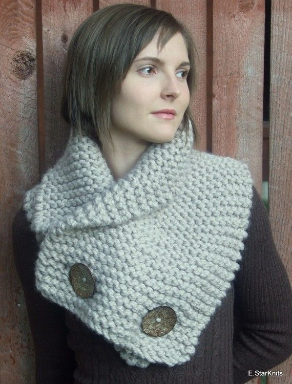 anouk button chunky cowl / shawl  linen by EStarKnits on Etsy, $65.00