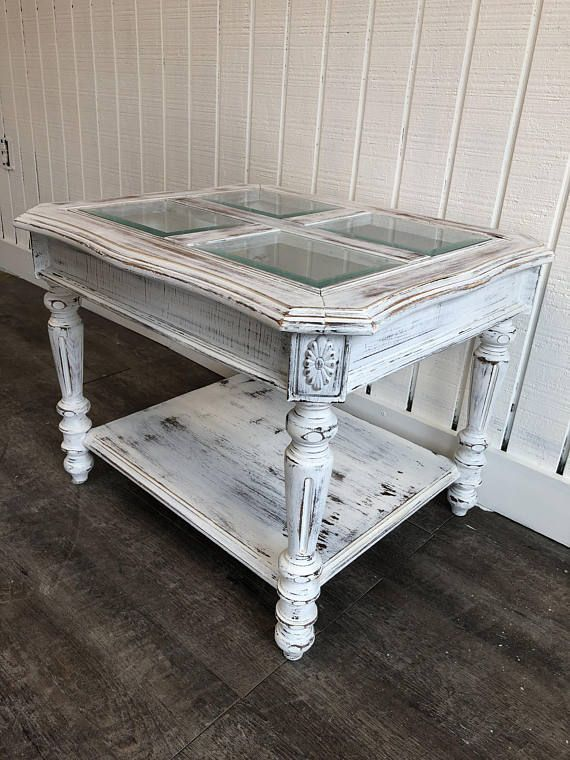 Shabby Chic Whitewashed Coffee Table End Table Vintage Oak White Distressed Glass Top Shabby Chic Coffee Table Chic Coffee Table Coffee Table Vintage