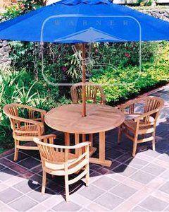 (4 seat) CALVI TEAK DINING SET 47 in dia table, 4 captain's chairs, $1945