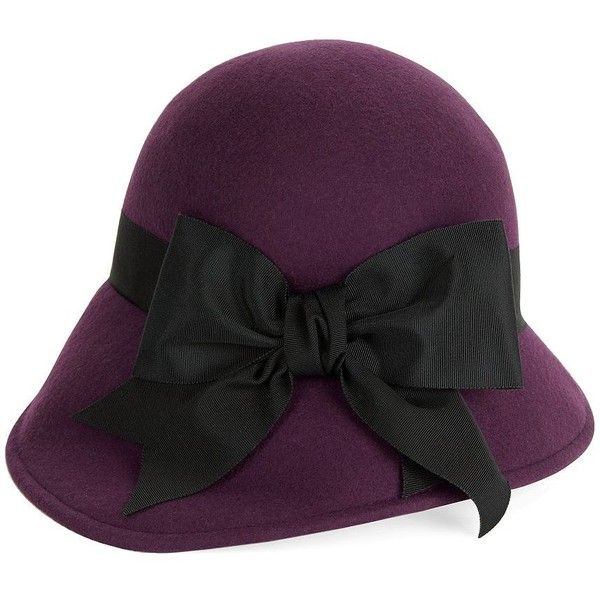 b7305516 Kathy Jeanne Bow-Accented Cloche ($74) ❤ liked on Polyvore featuring  accessories, hats, purple, bow hat, purple hat, vintage style hats, ka…