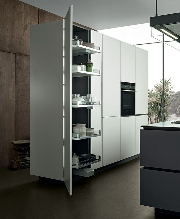 Accessorised tall unit with extractable structure w 600 mm, inner finishing in dark grey melamine