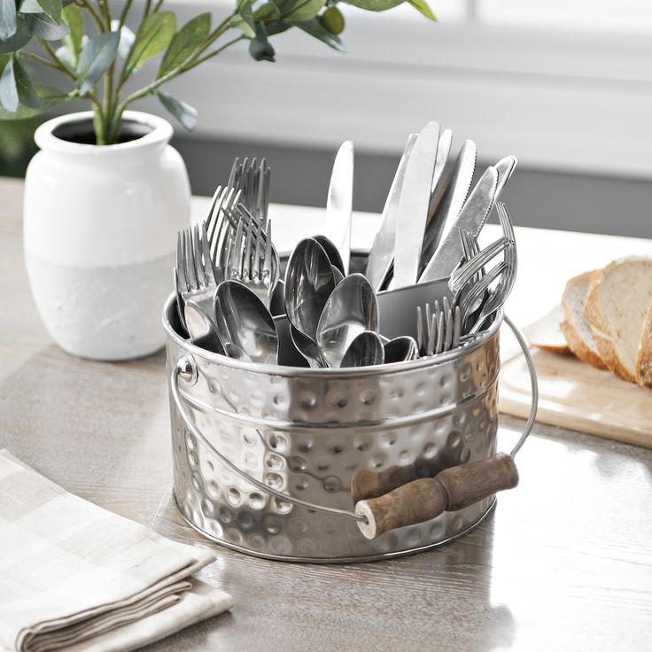 Party season may be winding down, but this silverware caddy looks great even when you aren't serving guests. Keep it on your table or your counter to free up a little drawer space in your kitchen!