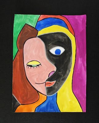 Kids learn about Picasso and do self-portraits in that style. Fun!