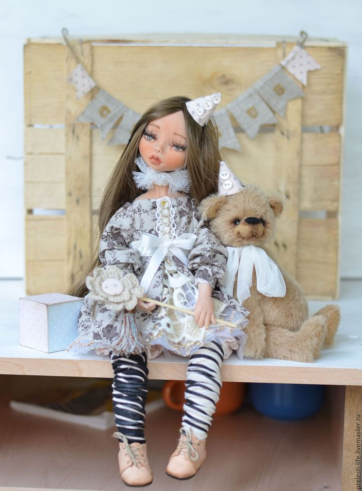 Купить Анна. Маленькие дрессировщицы - бежевый, коричневый, пепельно-розовый, кукла, кукла ручной работы