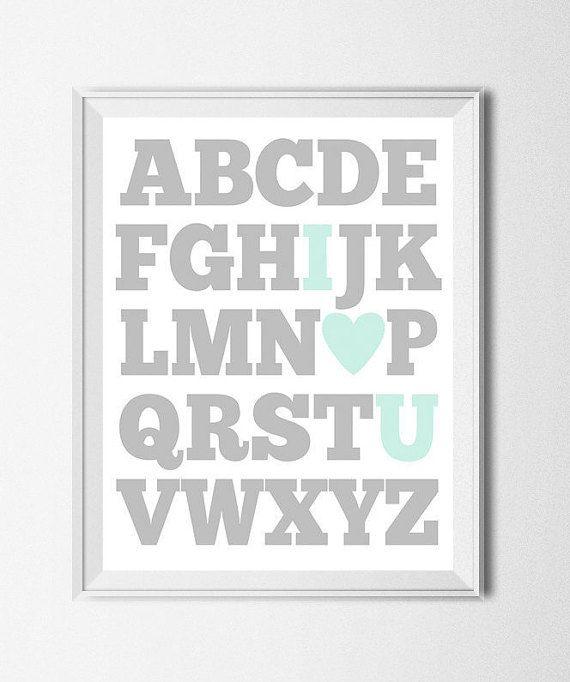 ABC Print Digital Nursery Printable Alphabet Print Boys Room Art I Love You Print Aqua Teal Grey Education Print I Heart U