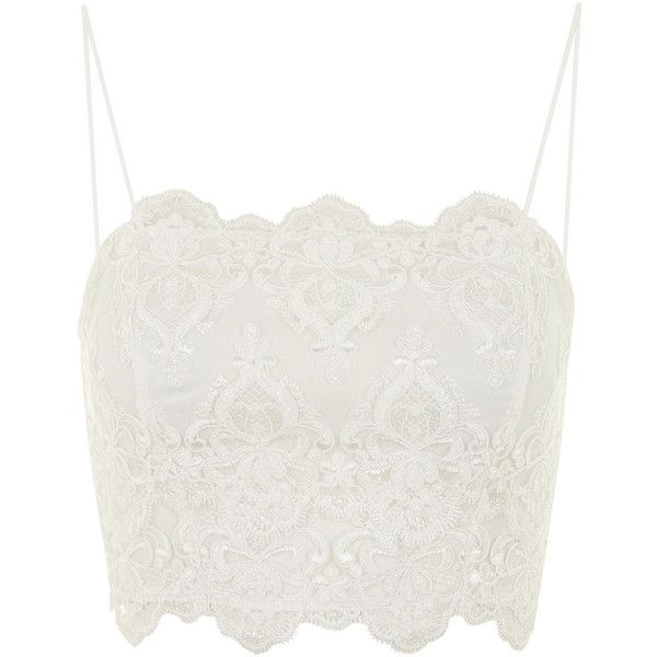 TOPSHOP Deco Lace Bralet (140 AED) ❤ liked on Polyvore featuring tops, shirts, crop tops, bralets, tank tops, white, lace bralet top, white crop shirt, crop shirts and crop top