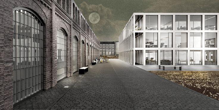 MODULAR OFFICE BUILDING - zablotnytomasz | portfolio  architecture modular timber construcion illustration gdansk shipyard tomasz zablotny