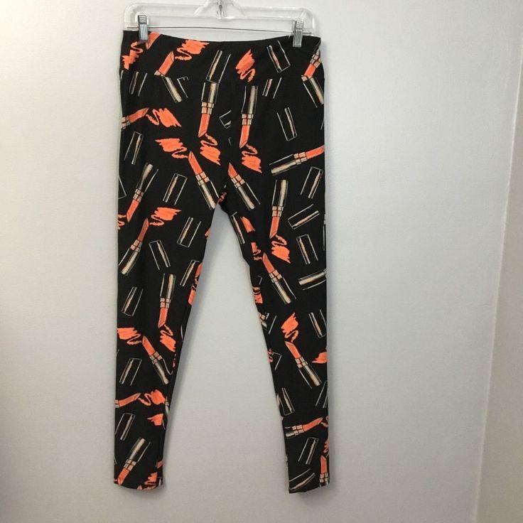 Lularoe Lipstick Leggings TC Tall and Curvy Black Orange Womens Soft Pull On  #LuLaRoe #Soft