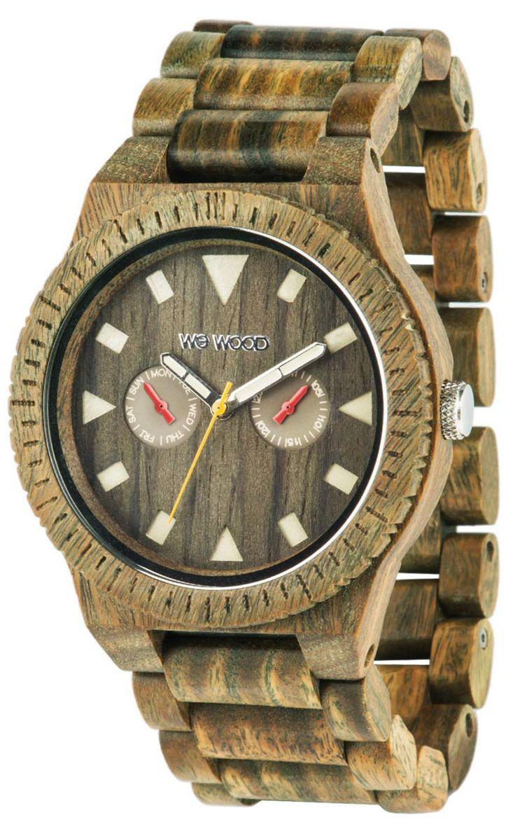 Wewood Holzuhr Leo Army Herren Armbanduhr WW37001 Herrenuhr, Miyota Uhrwerk, Guajak Uhrengehäuse, Guajak-Armband mit Clipverschluß, Durchmesser 45 mm, Höhe 11 mm, Gewicht ca. 56 g, Datumsanzeige, Wochentaganzeige