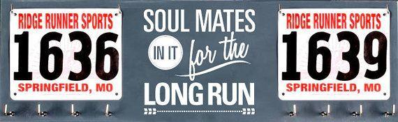 Running Medal Holder and Race Bib Hanger -  Soul Mates in it for the Long Run