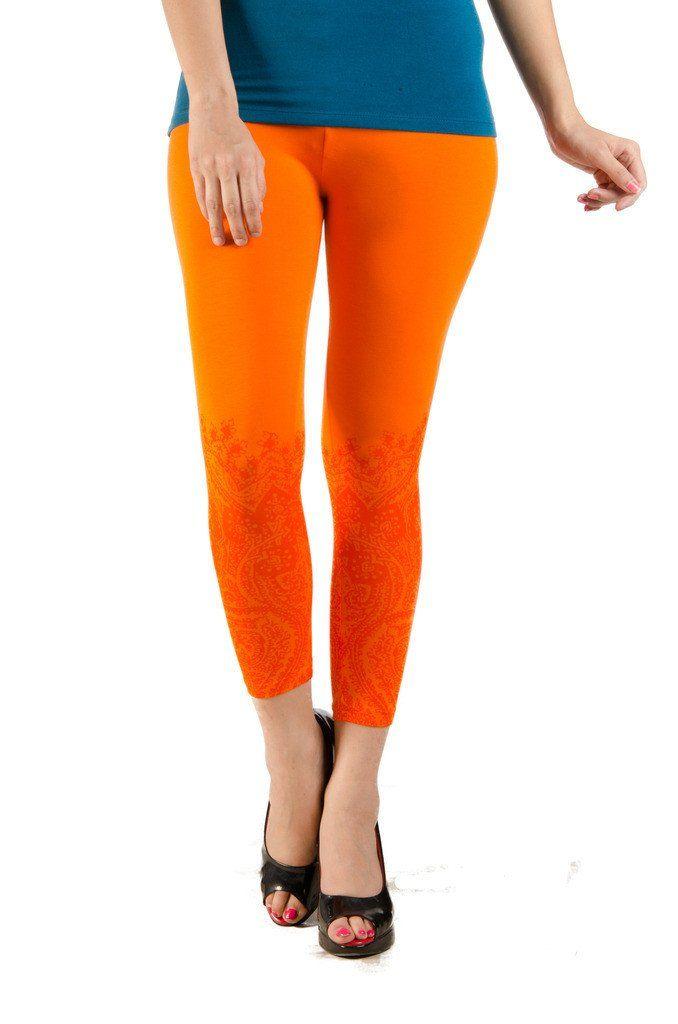 Ladies Leggings 3/4th (Capri) Viscose Lycra Orange  #deals #pants #harem #jogger #fashion #ss17 #discount #womensfahion #onlinedeals #legging