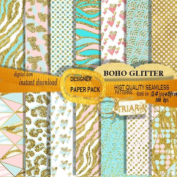 Bodo Chic digital Papier animal Print seamless pattern Instant Download