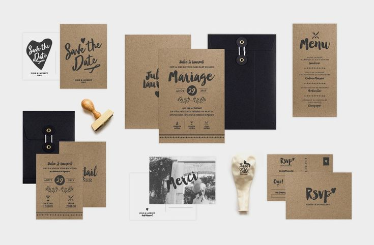 Collection Love Kraft 2015 - Papeterie - Faire-part - Save the date - Menu…