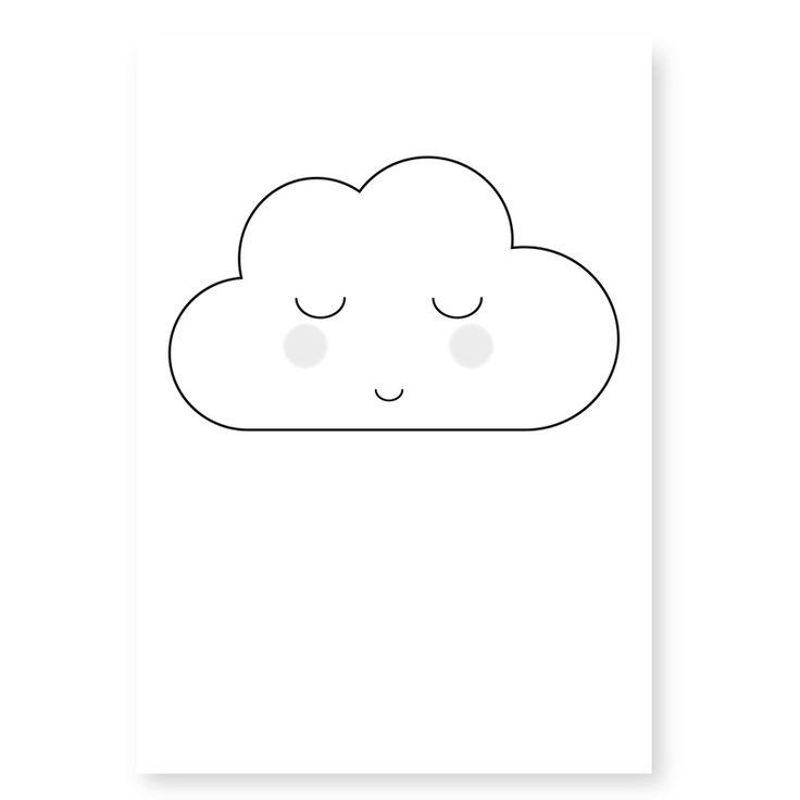 Ansichtkaart Wolkje wit. Lief kaartje om op te sturen maar ook heel decoratief in een lijstje of met stukje washitape opgeplakt in bijvoorbeeld de kinderkamer.
