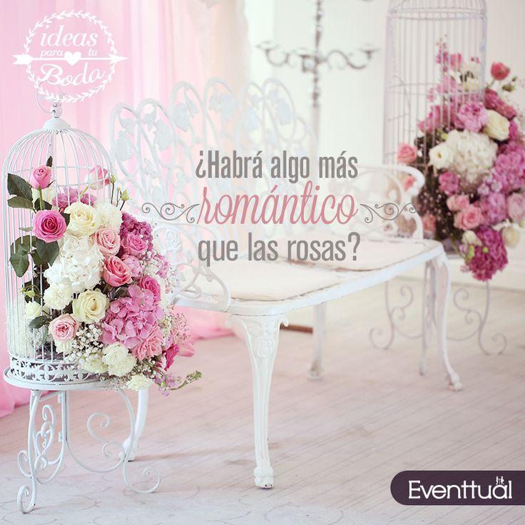 ¡Las rosas siempre van bien, usa siempre colores claros o pastel y tu boda tendrá un look muy romántico!