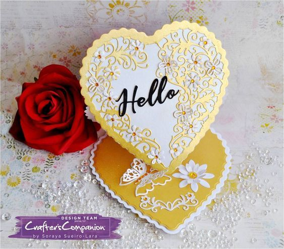 Easel Card made using Crafter's Companion Die'sire Create a Card Die Heart Easel Designed by Zoraya Sueiro-Lara. #crafterscompanion #ccgemini