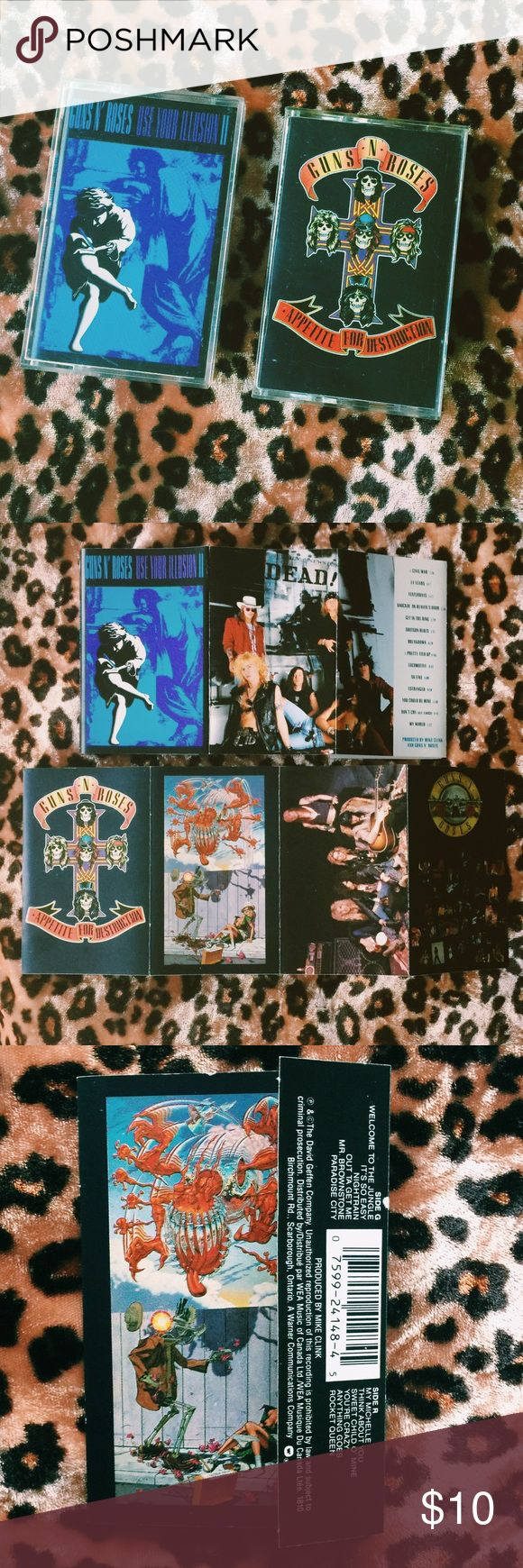 ᴠɪɴᴛᴀɢᴇ : cassette tapes Cassette info ⇝   These cassettes are best for bundling because of the shipping cost.   If you don't have tape deck- go to your local thrift store, pick one up, and start your tape cassette collection. It's worth it ✌🏻  Guns N' Roses: Appetite for Destruction  * Griffins Cassette  * Canadian Product  * Dolby HX Pro  * Circa 1987   Guns N' Roses: Use Your Illusion Ⅱ  * Geffens Cassette * Lyrics printed on foldout  * Canadian Product  * Dolby HX Pro * Circa 1991…
