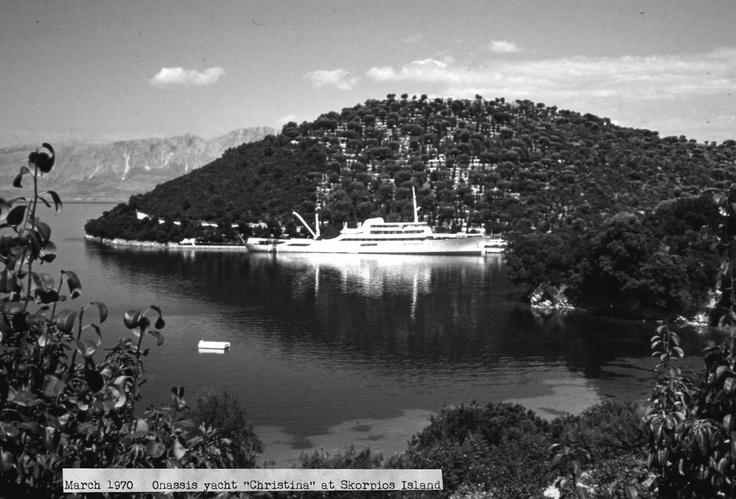 Aristotle Onassis yacht , the Christina,at Skorpios 1970
