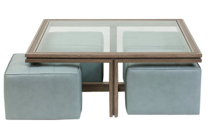 The Benjamin Table And Ottomans  Transitional, Leather, Upholstery  Fabric, Coffee  Cocktail Table by James Duncan, Inc