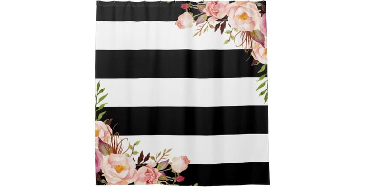 """================= ABOUT THIS DESIGN ================= Decor your bathroom in style with this """"Classy Black White Stripes Vintage Floral Monogram"""" Custom Shower Curtain. (1) You are able to CHANGE the black stripes to ANY COLOR you like by clicking the """"Customize it"""" button and setting the Background Color...."""