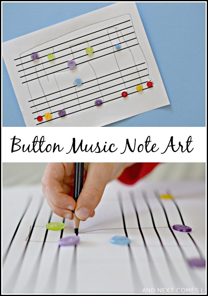 Button music note art: easy fine motor craft for kids from And Next Comes L- hands-on music theory practice