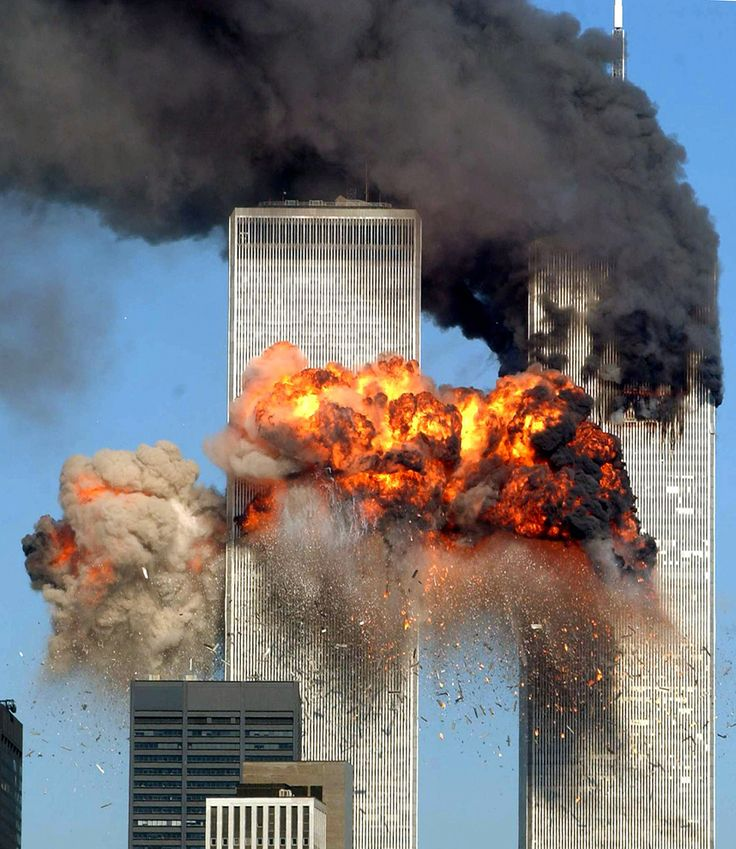 9/11 picture: United Airlines Flight 175 crashing into the World Trade Center's south tower