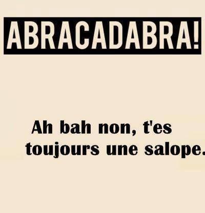 #ABRACADABRA! Ah bah non, t'es toujours une #salope. #amour #copine #magie