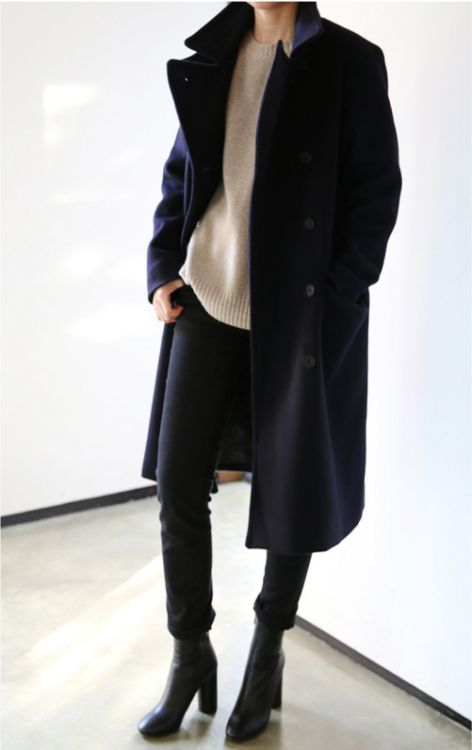 Black coat, pants and shoes, camel colored sweater (knit)