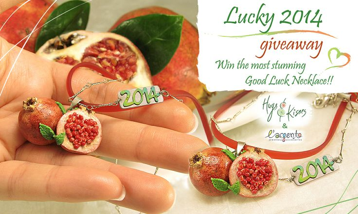 """Link to the Giveaway ► https://www.facebook.com/photo.php?fbid=737376986290150&set=a.605586472802536.1073741828.493026320725219&type=1&theater   ♥ """"HugsKissesMINI"""" is celebrating the New Year with a Lucky 2014 Giveaway!!! ♥ Enter & you can win the most stunning Good Luck Necklace of handmade miniature Pomegranates, the Greek symbol of good fortune & prosperity in the coming year!! The beautiful *2014* on the chain is silver & titanium and gifted from """"Largentolab""""!! :-D"""