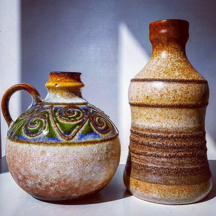 East German vases  #east #eastgermany #strehla #brown #green #fatlava #shadow #wgp #westgermanpottery #vintage #modern #midcentury #moderndesign #retro #70s #pottery #ceramic #vase #flowers #two #stripes