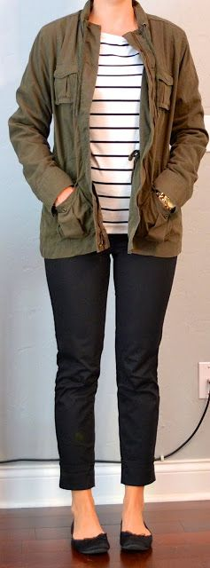 Outfit Posts: outfit post: striped shirt, military jacket, black cropped pant