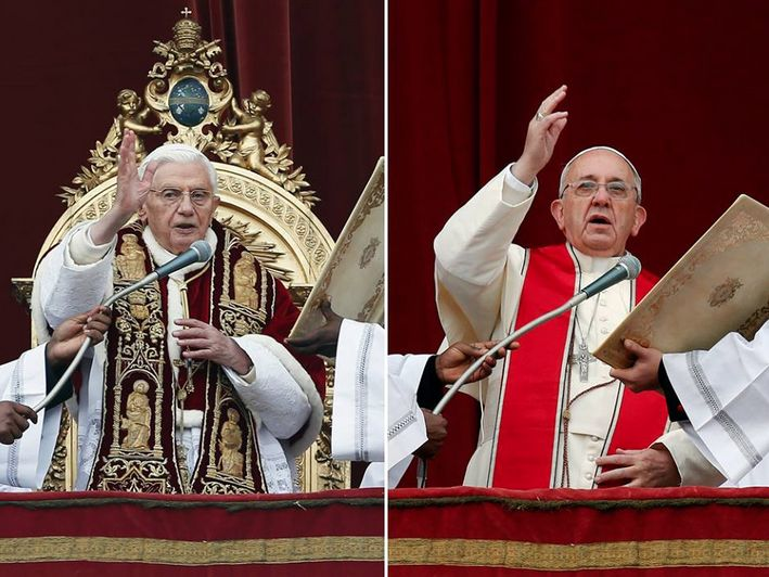 Pope Francis' simple style on Christmas offers sharp contrast to Benedict's ornate garb  (Photos: Alessandro Bianchi / Reuters)