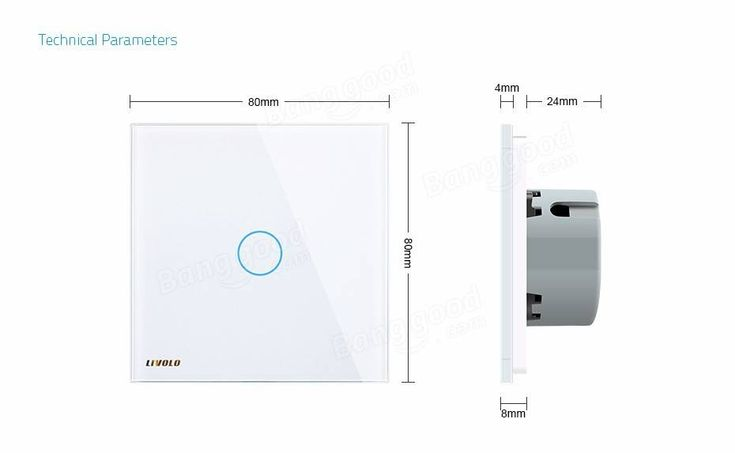 Livolo White Glass Touch Panel EU Standard Intermediate Switch VL-C701S-11