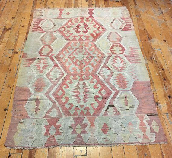 Vintage kilim pastel tapijten Turkse Anatolische hand door Isdarhali
