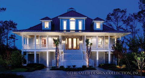"""An inviting wraparound porch gives character to the charming """"Les Anges"""" home plan l Sater Design Collection l Coastal House Plans"""
