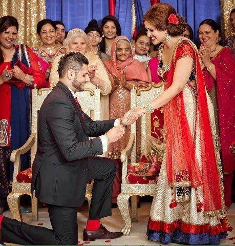 Dulha and dulhan Indian bride and groom Desi wedding Punjabi Pakistan engagement