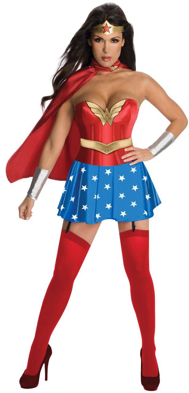 Sexy Wonder Woman™ Kostüm für Damen: Dieses sexy Wonder Woman™ Kostüm für Damen besteht aus einem Korsett, einem Rock, einem Gürtel, einem Umhang, einem Stirnband und Ärmelstulpen (Schuhe und Strümpfe...