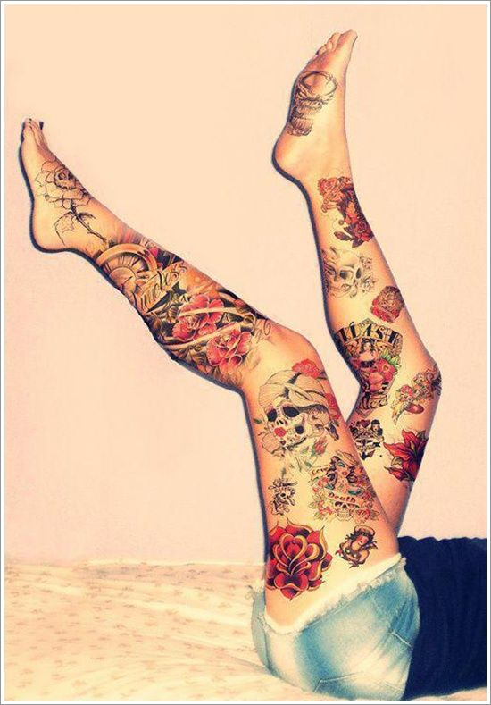 Girl in short with amazing thigh tattoo, her tattoo going down from thigh to foot :)