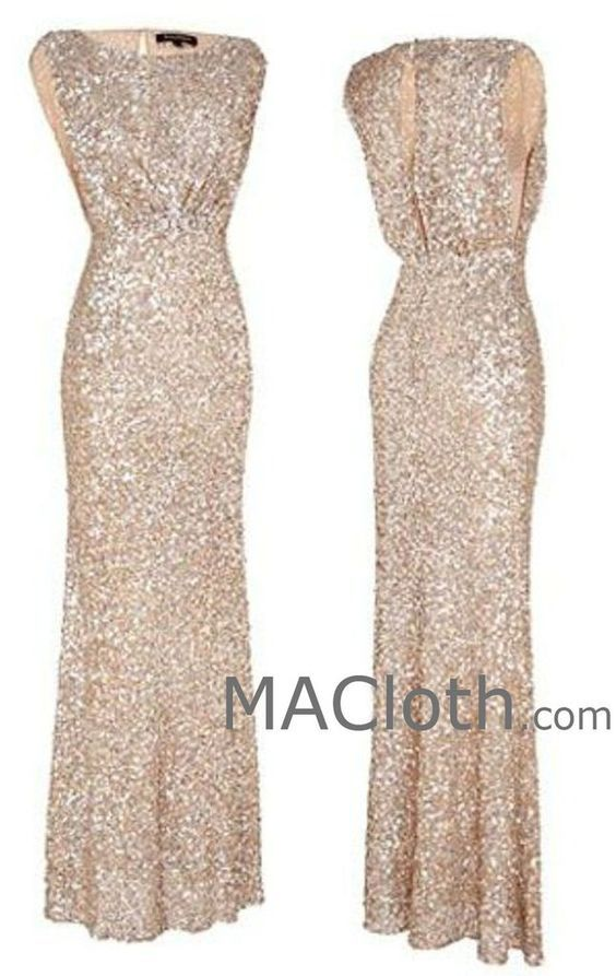 MACloth Cap Sleeves Sequin Rose Gold Long Bridesmaid Dress Wedding Party Formal  Gown 74486578361d