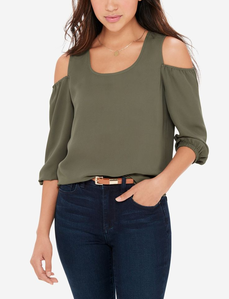 Your favorite cold shoulder blouse is now lovely in lightweight fabric and romantic peasant sleeves